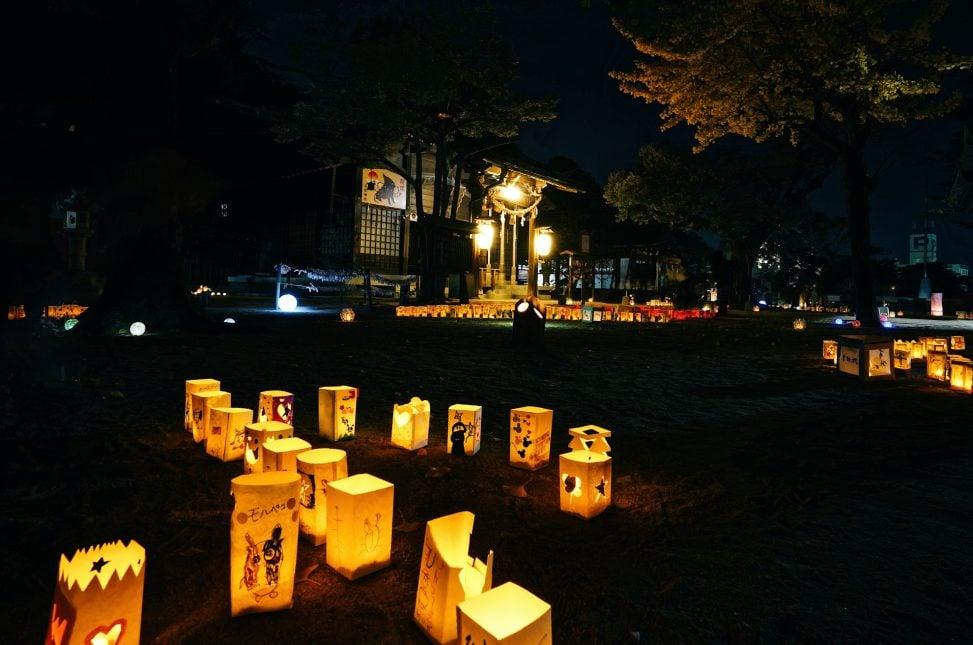 忌宮神社のキャンドル
