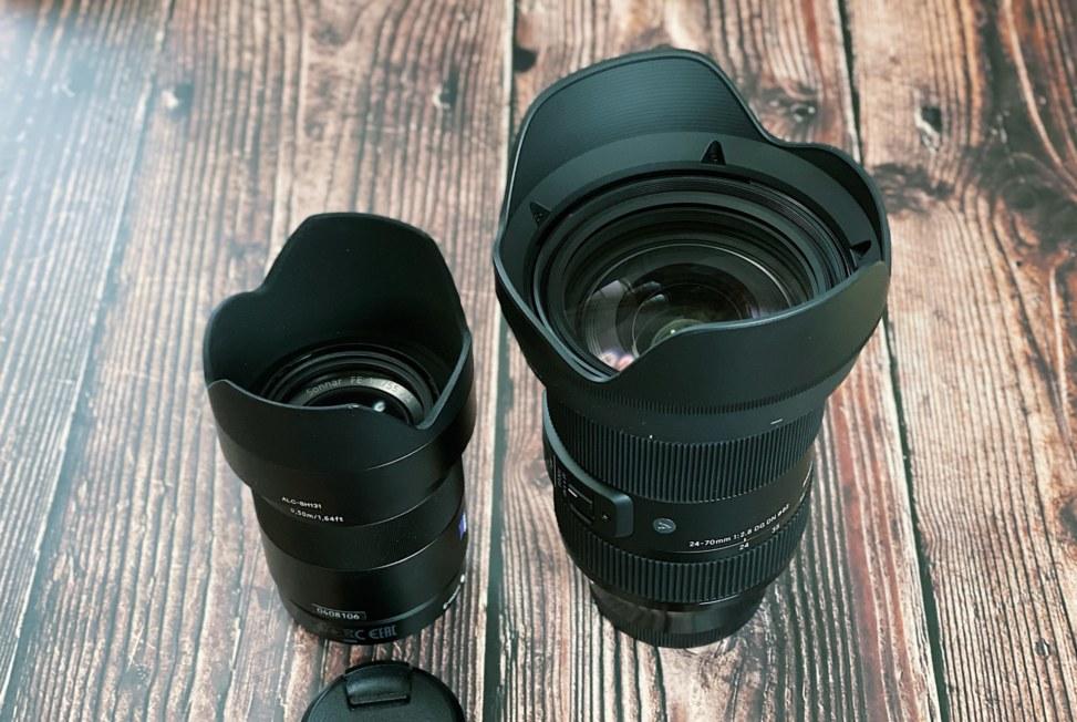 Sonnat T* FE 55mm F1.8 ZAとSIGMA 24-70mm F2.8の大きさ比較