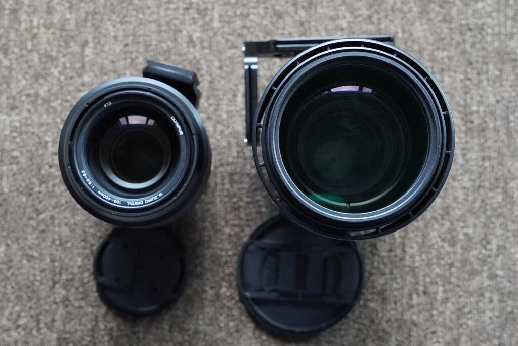SIGMA 150-600c(右)とM.ZUIKO 100-400の大きさの違い